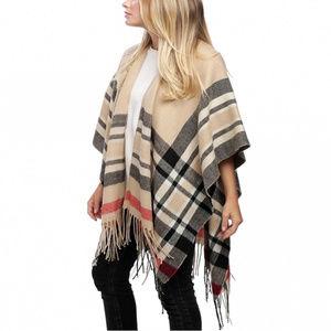 Classic check pattern ruana Shawl Wrap